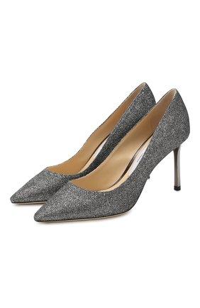 Женская туфли romy 85 из металлизированного текстиля  JIMMY CHOO серого цвета, арт. R0MY 85/LAG | Фото 1