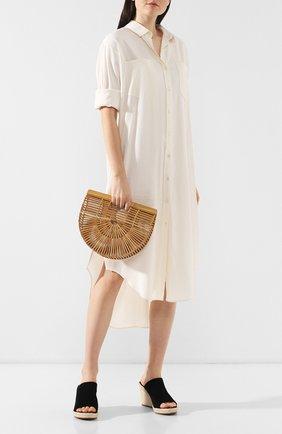Женская сумка ark small CULT GAIA светло-коричневого цвета, арт. 20018WD TAN   Фото 2 (Размер: small; Сумки-технические: Сумки top-handle; Материал: Растительное волокно)