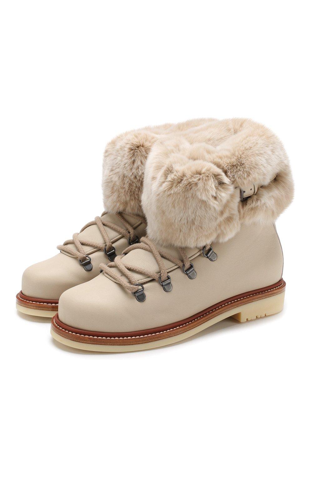 2b63d6e74 Кожаные ботинки Perm Walk с внутренней меховой отделкой Loro Piana  светло-бежевые | Фото №