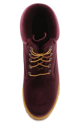 7a1529f80eaef4 Текстильные ботинки Off-White x Timberland Off-White бордовые | Фото №5