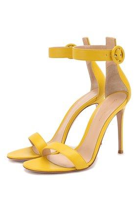 Женские кожаные босоножки portofino 105 GIANVITO ROSSI желтого цвета, арт. G61096.15RIC.NAPMIM0 | Фото 1