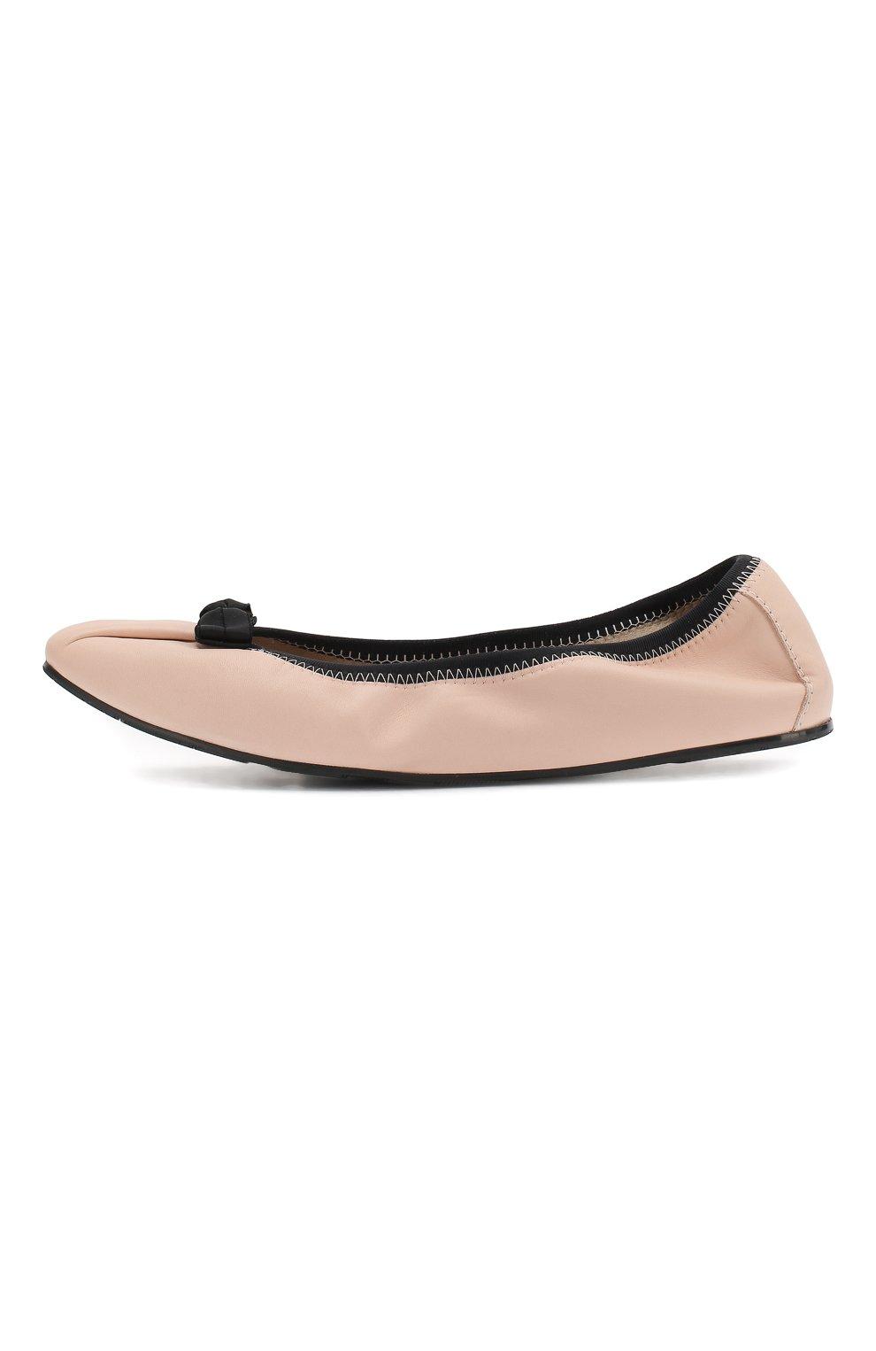 Кожаные балетки Salvatore Ferragamo светло-розовые | Фото №3