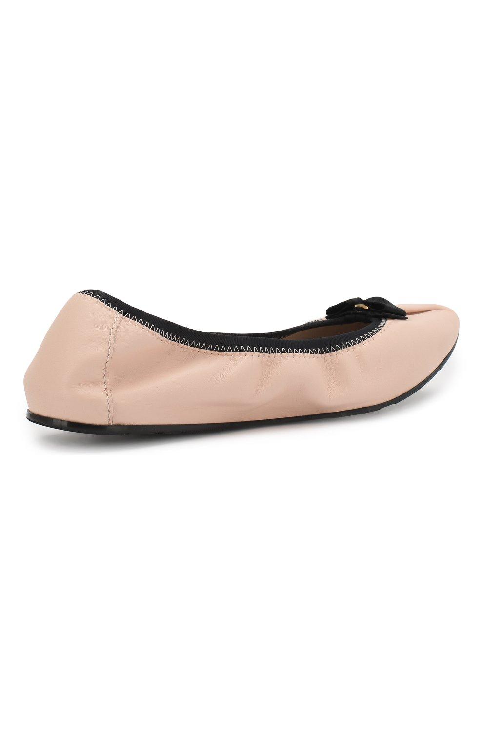 Кожаные балетки Salvatore Ferragamo светло-розовые | Фото №4