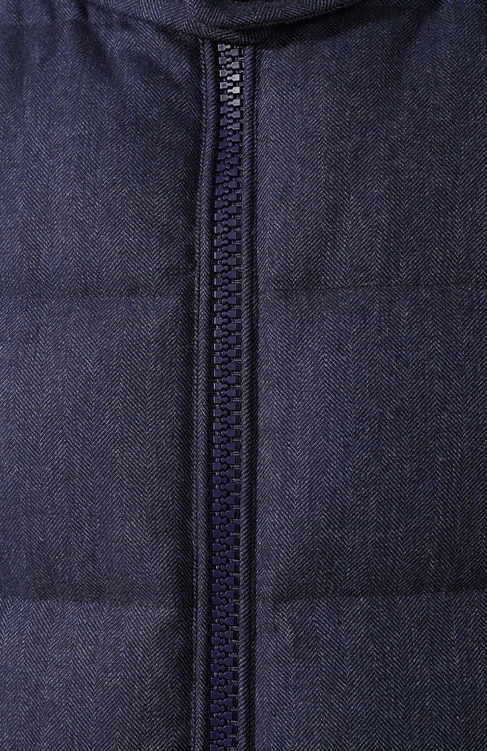 Мужской пуховый жилет из шерсти RALPH LAUREN синего цвета, арт. 790703428   Фото 5 (Кросс-КТ: Куртка, Пуховик; Материал внешний: Шерсть; Мужское Кросс-КТ: Верхняя одежда; Статус проверки: Проверено, Проверена категория; Длина (верхняя одежда): Короткие; Материал утеплителя: Пух и перо; Стили: Кэжуэл)