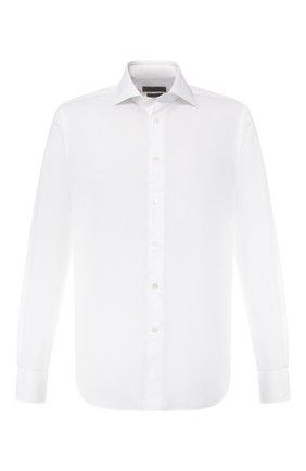 Мужская хлопковая рубашка с воротником кент CORNELIANI белого цвета, арт. 83P100-9111408/00   Фото 1