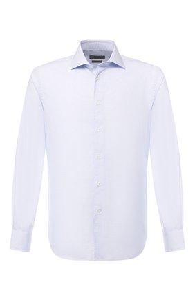 Мужская хлопковая сорочка с воротником кент CORNELIANI голубого цвета, арт. 83P100-9111294/00 | Фото 1