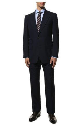 Мужской шерстяной костюм TOM FORD темно-синего цвета, арт. 511R03/21AL43 | Фото 1 (Рукава: Длинные; Big photo: Big photo; Материал внешний: Шерсть; Костюмы М: Однобортный; Стили: Классический)