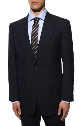Мужской шерстяной костюм TOM FORD темно-синего цвета, арт. 511R03/21AL43 | Фото 2 (Рукава: Длинные; Big photo: Big photo; Материал внешний: Шерсть; Костюмы М: Однобортный; Стили: Классический)
