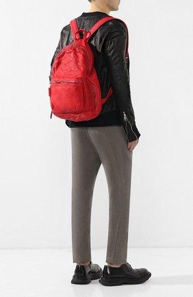 Мужской кожаный рюкзак GIORGIO BRATO красного цвета, арт. BS19S2401V   Фото 2 (Статус проверки: Проверена категория; Материал: Натуральная кожа)