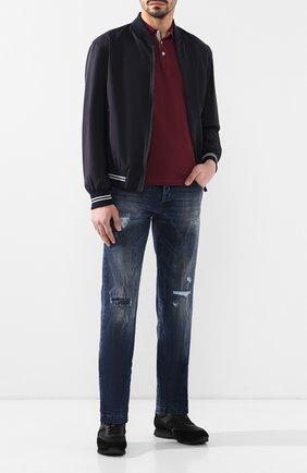 Мужское хлопковое поло BRUNELLO CUCINELLI бордового цвета, арт. M0T638307 | Фото 2