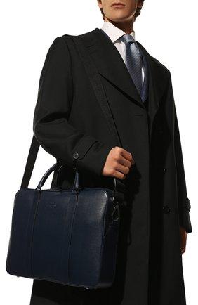 Мужская кожаная сумка для ноутбука с плечевым ремнем CANALI темно-синего цвета, арт. P325157/NA00053 | Фото 2