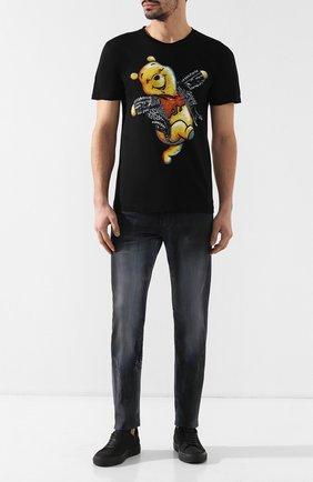Мужская хлопковая футболка DOM REBEL черного цвета, арт. HAPPY/T-SHIRT   Фото 2