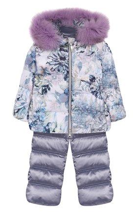 Детского комплект из пуховой куртки и комбинезона сиреневый сад CHEPE сиреневого цвета, арт. 392222   Фото 1