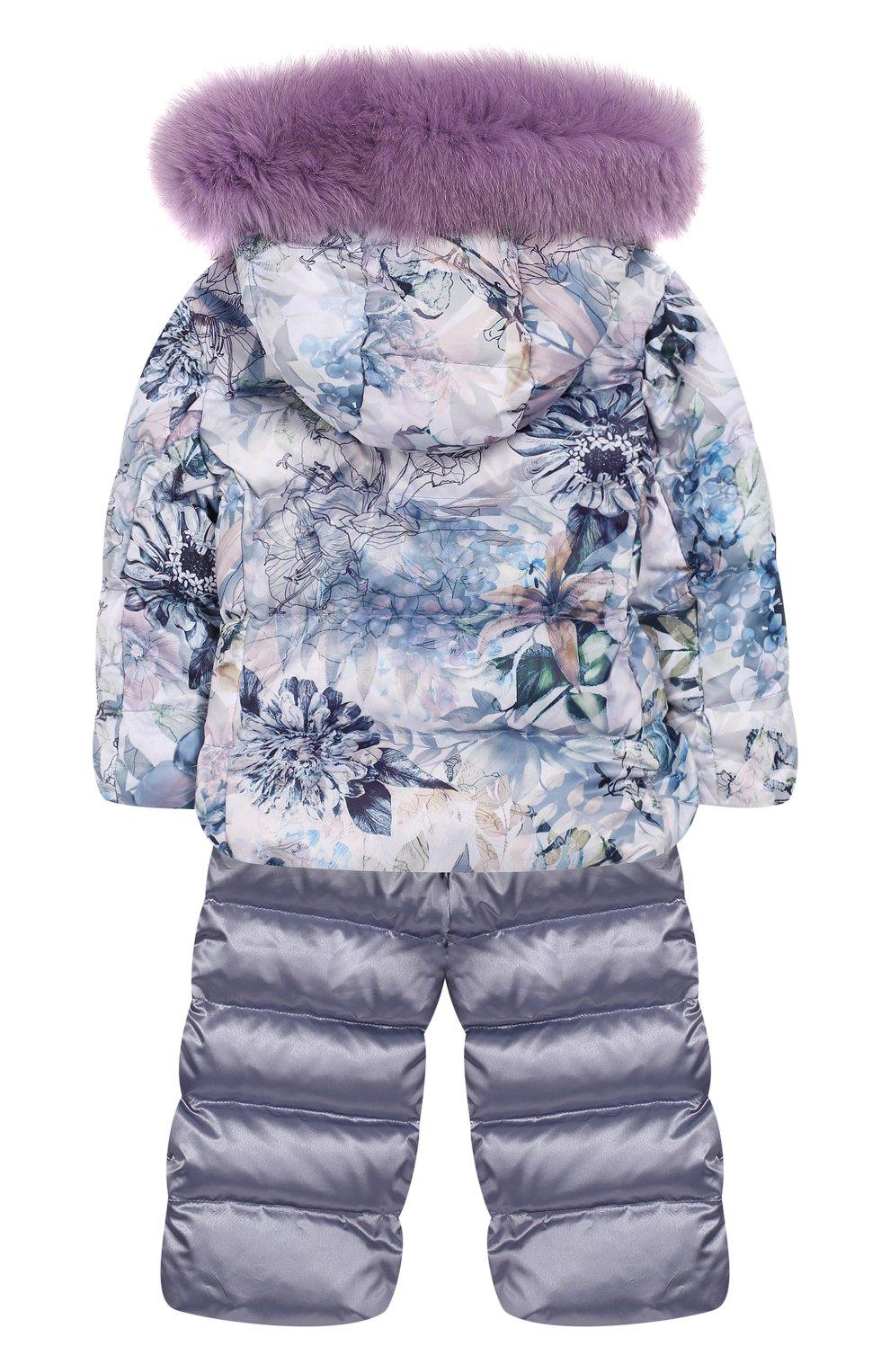 Детского комплект из пуховой куртки и комбинезона сиреневый сад CHEPE сиреневого цвета, арт. 392222   Фото 2