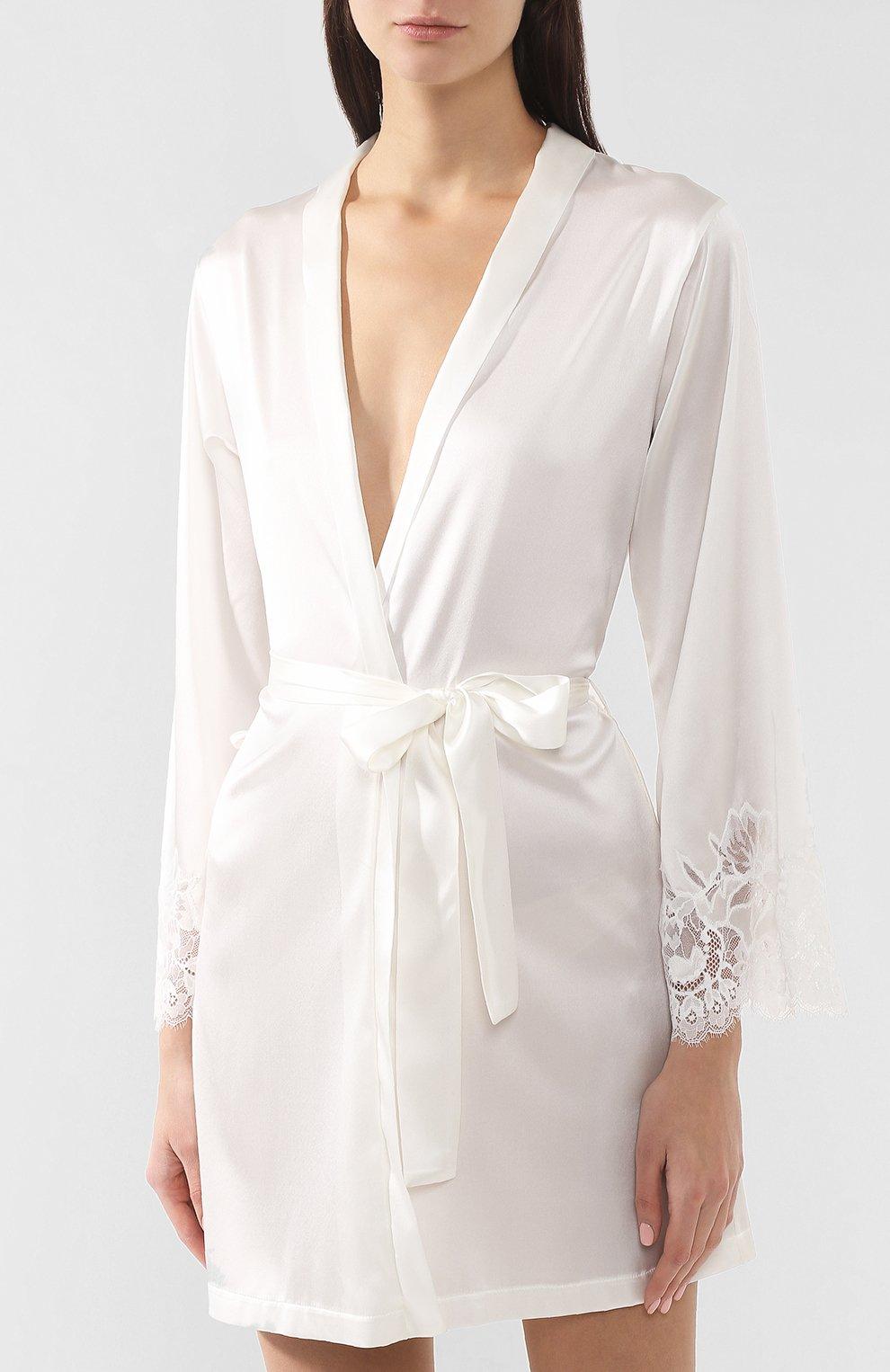 Женский шелковый халат COTTON CLUB кремвого цвета, арт. 6VB | Фото 3