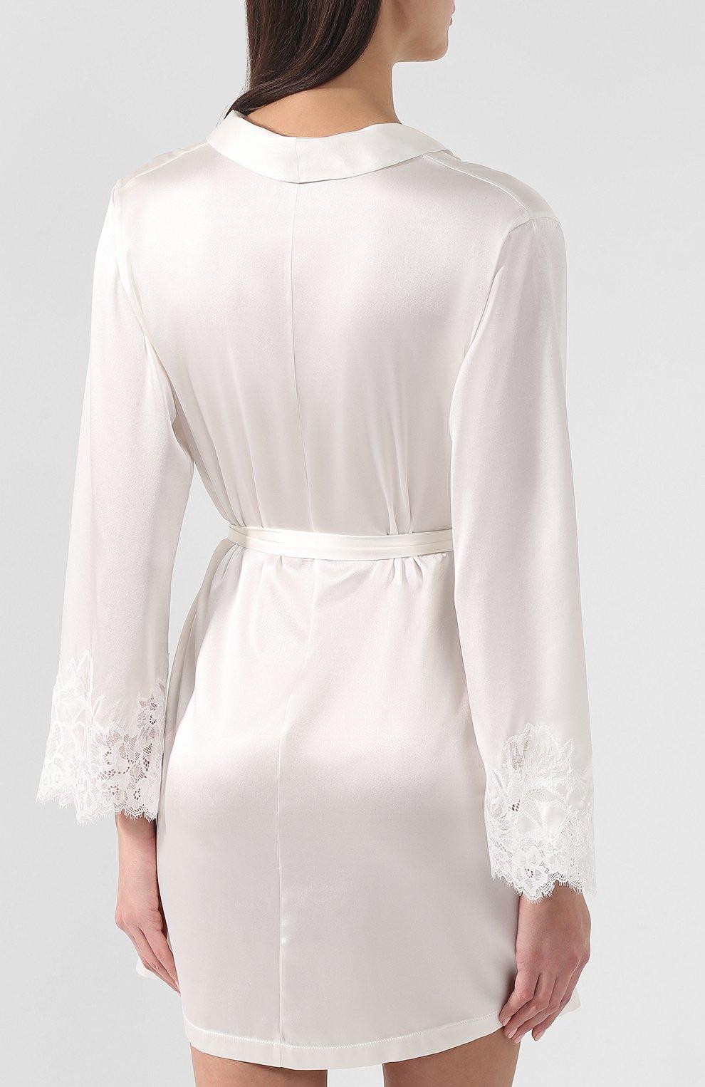 Женский шелковый халат COTTON CLUB кремвого цвета, арт. 6VB | Фото 4