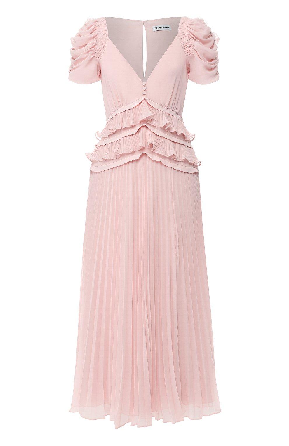 Женское платье-миди SELF-PORTRAIT розового цвета, арт. SP20-135P | Фото 1