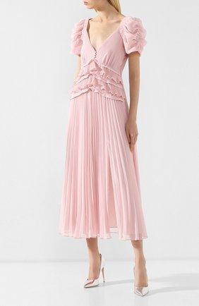 Женское платье-миди SELF-PORTRAIT розового цвета, арт. SP20-135P | Фото 2