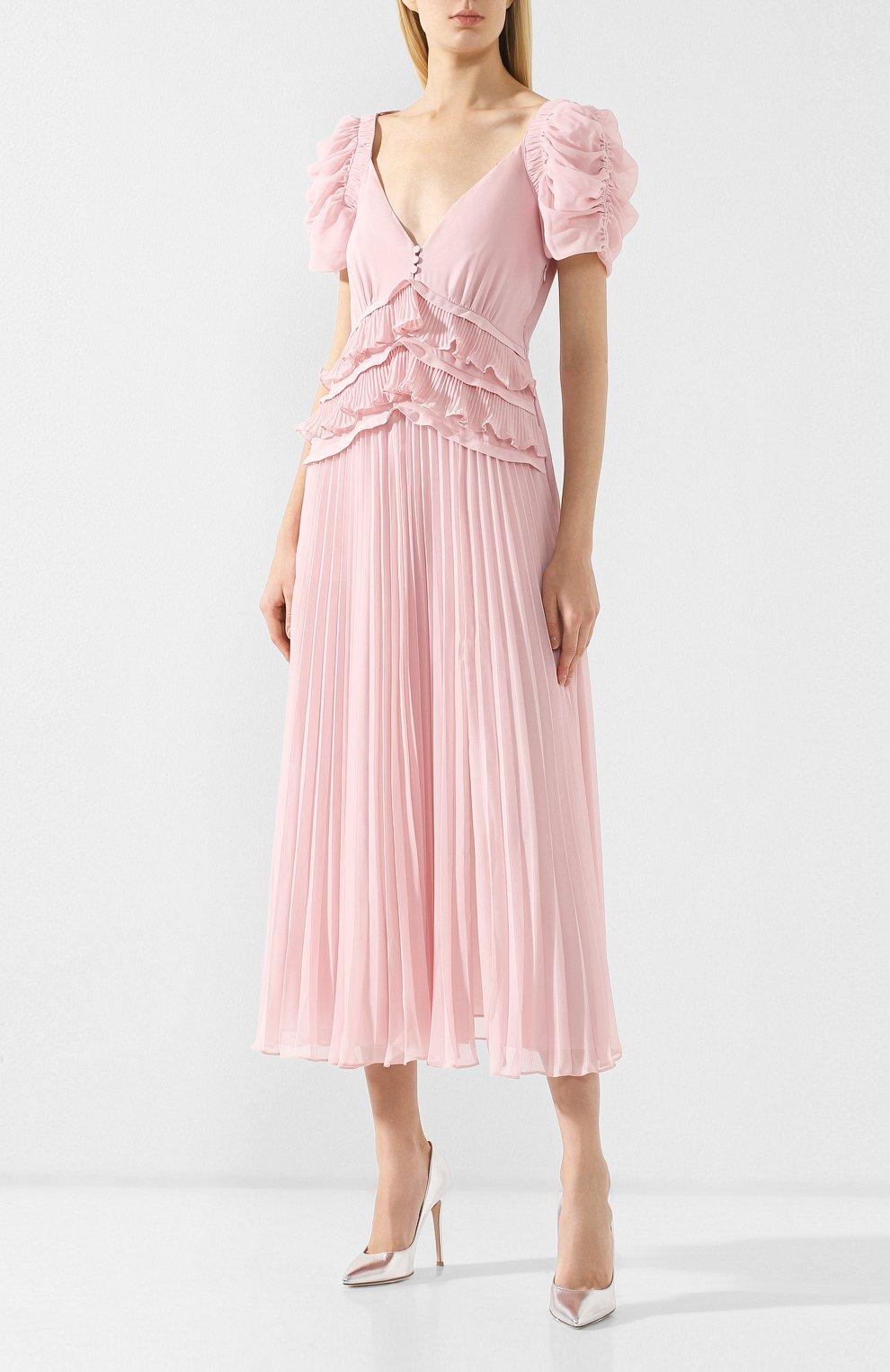 Женское платье-миди SELF-PORTRAIT розового цвета, арт. SP20-135P | Фото 3