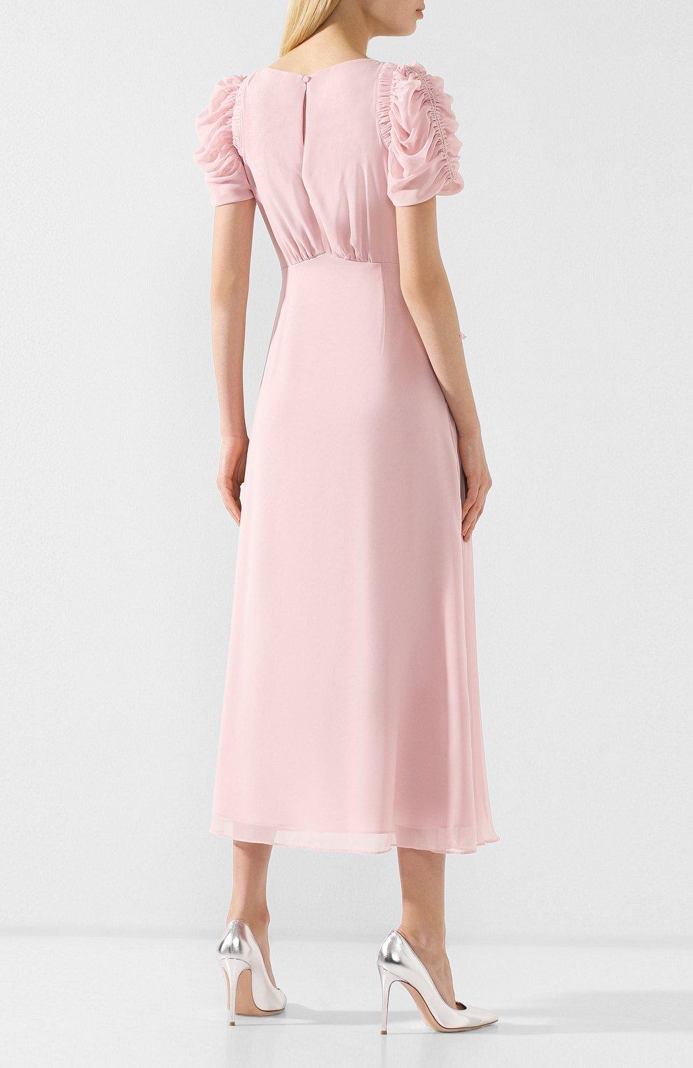 Женское платье-миди SELF-PORTRAIT розового цвета, арт. SP20-135P | Фото 4