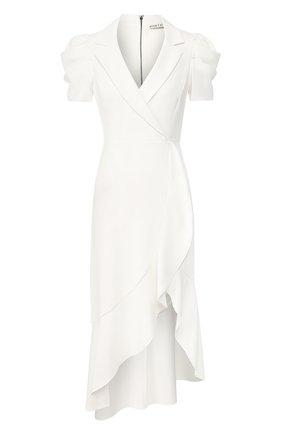 Платье с оборкой Alice + Olivia белое | Фото №1