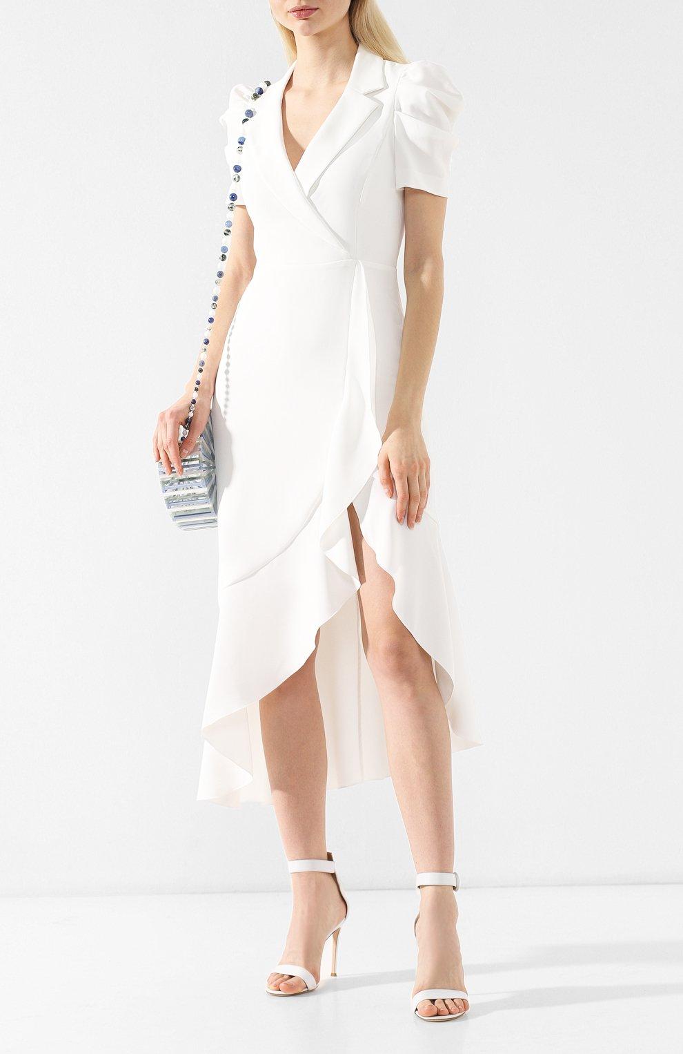 Платье с оборкой Alice + Olivia белое | Фото №2