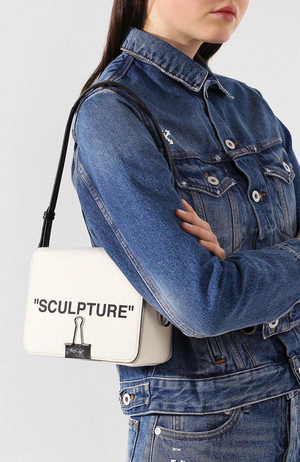 Сумка Sculpture Binder Clip Off-White бежевая цвета   Фото №5