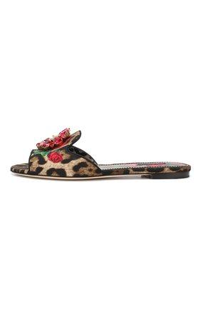 Текстильные шлепанцы Bianca Dolce & Gabbana разноцветные | Фото №3
