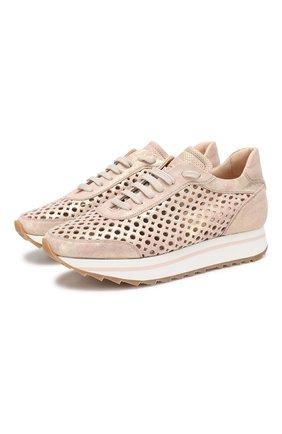 Кожаные кроссовки   Pertini светло-розовые | Фото №1