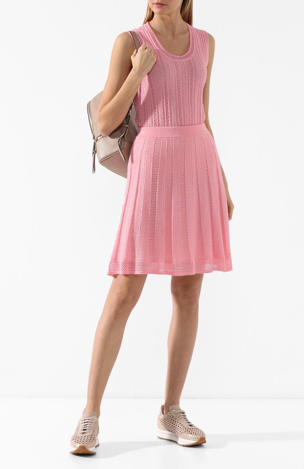 Кожаные кроссовки   Pertini светло-розовые | Фото №2