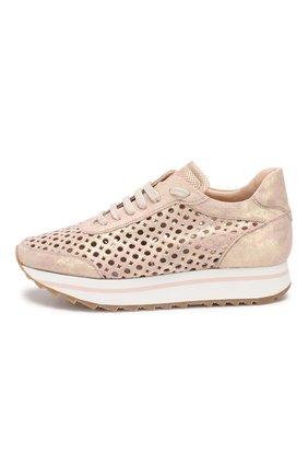 Кожаные кроссовки   Pertini светло-розовые | Фото №3