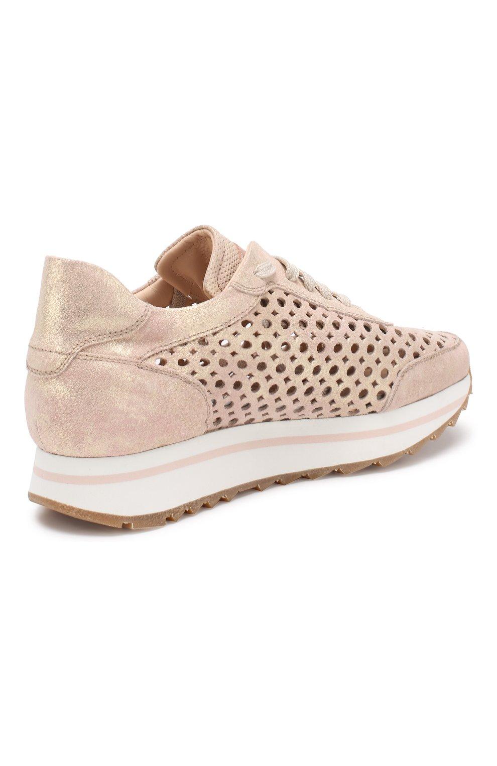 Кожаные кроссовки   Pertini светло-розовые | Фото №4