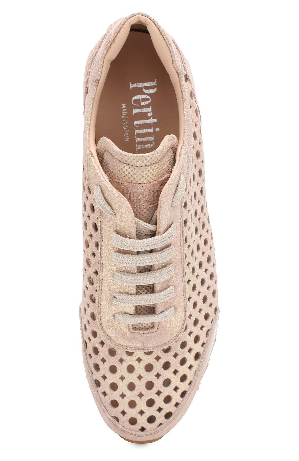 Кожаные кроссовки   Pertini светло-розовые | Фото №5