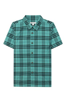 Детская хлопковая рубашка BURBERRY зеленого цвета, арт. 8004934   Фото 1