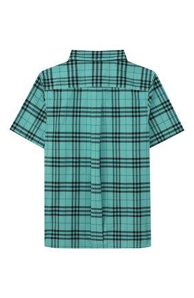 Детская хлопковая рубашка BURBERRY зеленого цвета, арт. 8004934   Фото 2