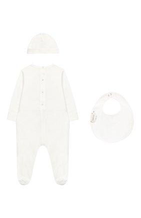 Комплект из хлопковой пижамы и шапки с нагрудником   Фото №2