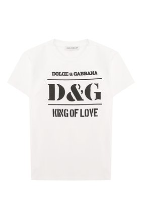 Детский хлопковая футболка DOLCE & GABBANA белого цвета, арт. L1JT8E/G7SBP | Фото 1
