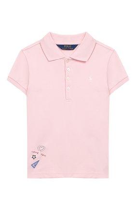 Детское хлопковое поло POLO RALPH LAUREN розового цвета, арт. 312735817 | Фото 1