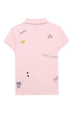 Детское хлопковое поло POLO RALPH LAUREN розового цвета, арт. 312735817 | Фото 2