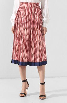 Шелковая юбка Valentino красная | Фото №3