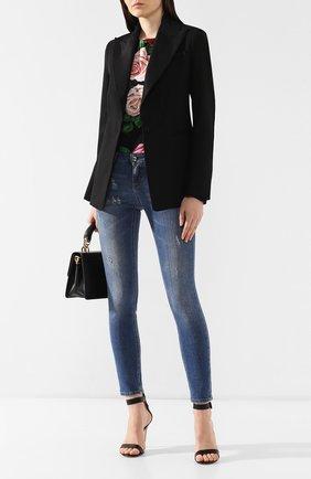 Женские джинсы с потертостями DOLCE & GABBANA синего цвета, арт. FTAQWD/G897S | Фото 2