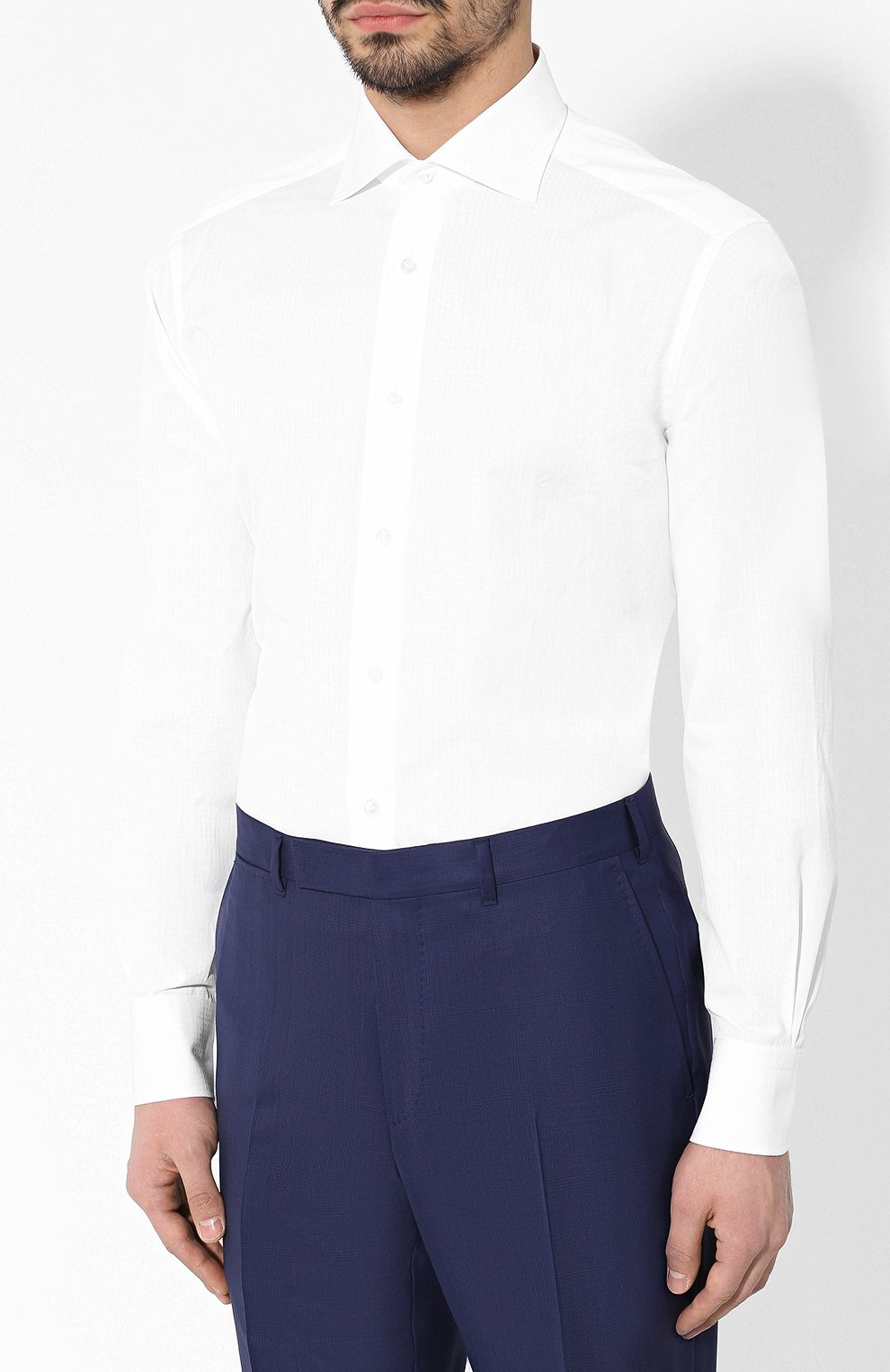 Мужская хлопковая сорочка с воротником кент ZEGNA COUTURE белого цвета, арт. 502028/9NS0RI | Фото 3