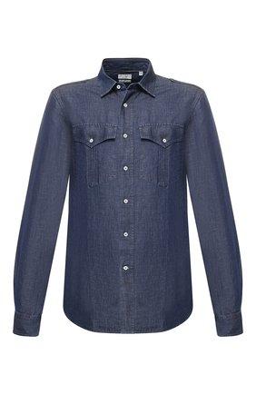 Мужская джинсовая рубашка BRUNELLO CUCINELLI темно-синего цвета, арт. MQ6783058 | Фото 1