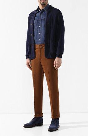 Мужская джинсовая рубашка BRUNELLO CUCINELLI темно-синего цвета, арт. MQ6783058 | Фото 2
