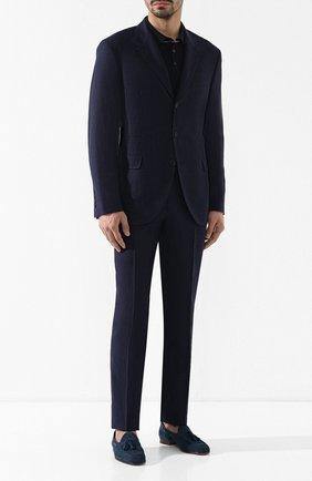 Мужское поло из смеси шерсти и кашемира BRUNELLO CUCINELLI темно-синего цвета, арт. M24800805 | Фото 2