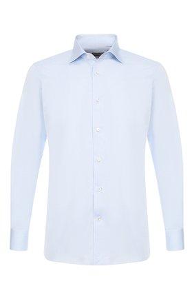 Мужская хлопковая сорочка с воротником кент ERMENEGILDO ZEGNA голубого цвета, арт. 501211/9MS0BA | Фото 1