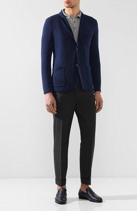 Мужские кожаные пенни-лоферы HARRYS OF LONDON темно-синего цвета, арт. EDWARD S0FT DEERSKIN | Фото 2