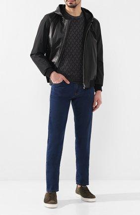 Мужские джинсы прямого кроя CANALI темно-синего цвета, арт. 91700R/PD00019 | Фото 2