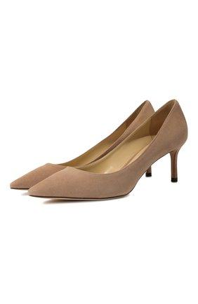 Женская замшевые туфли romy 60 JIMMY CHOO бежевого цвета, арт. R0MY 60/SUE | Фото 1