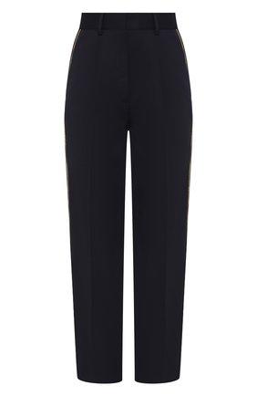 Женские брюки с лампасами TOMMY HILFIGER темно-синего цвета, арт. WW0WW23767 | Фото 1 (Длина (брюки, джинсы): Укороченные; Материал внешний: Синтетический материал; Статус проверки: Проверена категория; Женское Кросс-КТ: Брюки-одежда)